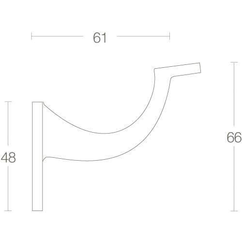 Intersteel Leuninghouder hol zadel chroom - Technische tekening