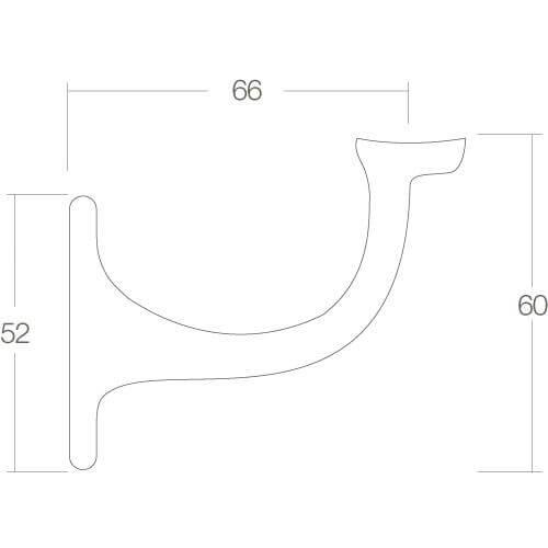 Intersteel Leuninghouder hol zadel nikkel mat - Technische tekening