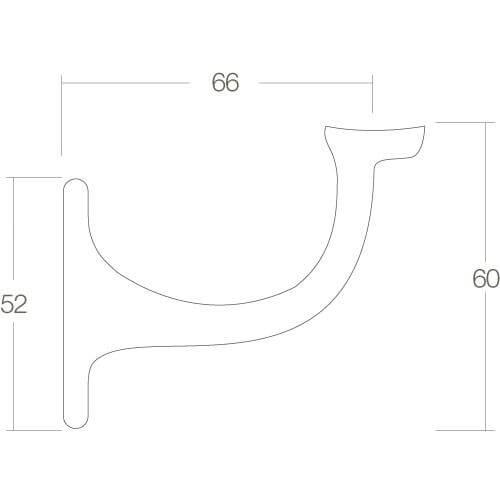 Intersteel Leuninghouder opschroevend hol chroom - Technische tekening