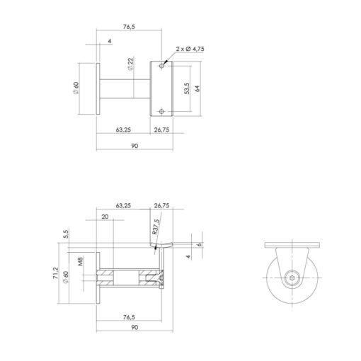 Intersteel Leuninghouder zwaar-taps hol zadel INOX geborsteld - Technische tekening