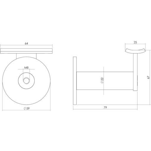 Intersteel Leuninghouder zwaar met hol zadel INOX geborsteld - Technische tekening
