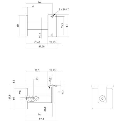 Intersteel Leuninghouder zwaar vierkant hol INOX geborsteld - Technische tekening