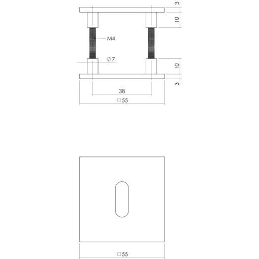 Intersteel Magneet rozet vierkant met profielcilindergat INOX geborsteld - Technische tekening