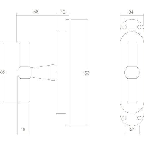 Intersteel Raamespagnolet T-kruk nikkel mat - Technische tekening