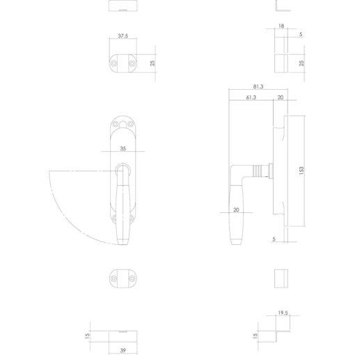 Intersteel Raamespagnolet Ton 400 links nikkel/ebbenhout - Technische tekening