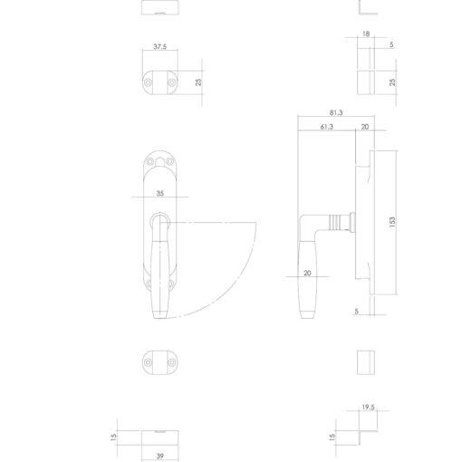 Intersteel Raamespagnolet Ton 400 rechts nikkel/ebbenhout - Technische tekening