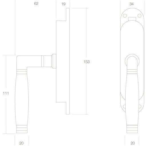 Intersteel Raamespagnolet rechts Koper gelakt/ebbenhout - Technische tekening