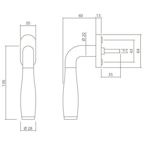 Intersteel Raamkruk Bas Konig Solid Fusion INOX gepolijst - Technische tekening