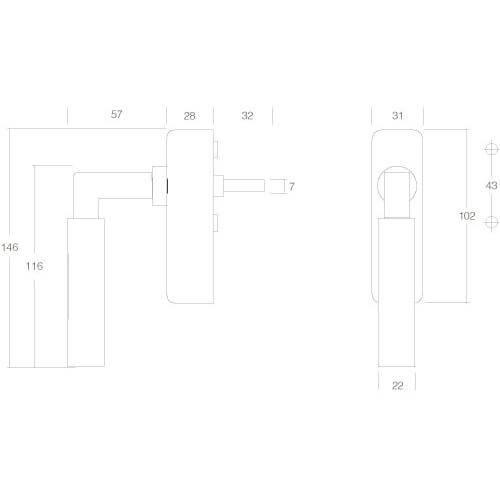 Intersteel Raamkruk Bau-stil afsluitbaar chroom - Technische tekening