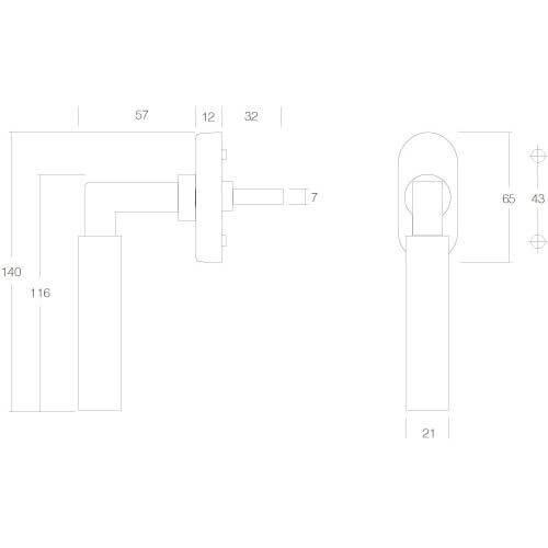 Intersteel Raamkruk Bau-stil chroom mat - Technische tekening