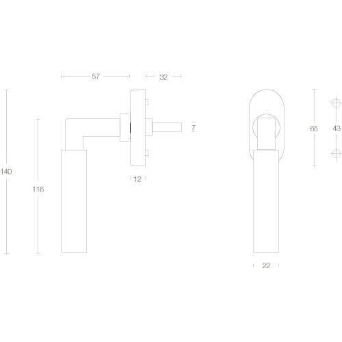Intersteel Raamkruk Bau-stil chroom mat/mat zwart - Technische tekening