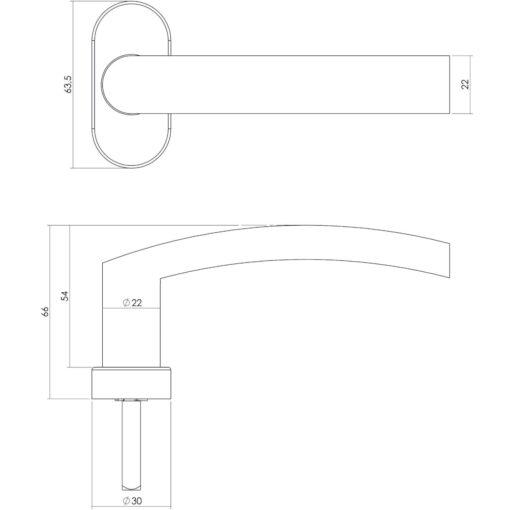 Intersteel Raamkruk Blok INOX geborsteld - Technische tekening