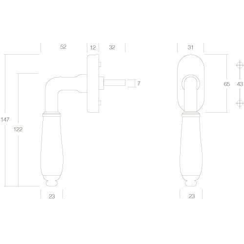 Intersteel Raamkruk Courgette nikkel/zwart - Technische tekening
