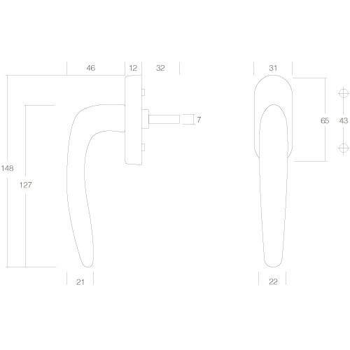 Intersteel Raamkruk Ellips chroom - Technische tekening