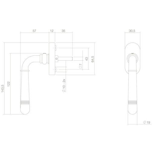Intersteel Raamkruk Emily Koper gelakt - Technische tekening