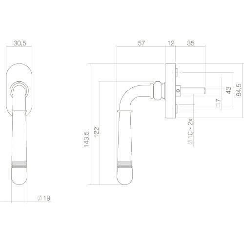 Intersteel Raamkruk Emily chroom - Technische tekening