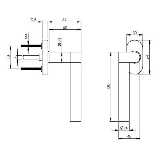Intersteel Raamkruk Erik Munnikhof Dock Solid links INOX geborsteld - Technische tekening