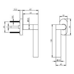 Intersteel Raamkruk Erik Munnikhof Dock Solid links INOX gepolijst - Technische tekening