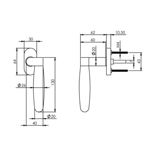 Intersteel Raamkruk Erik Munnikhof Dock Ton rechts INOX geborsteld - Technische tekening