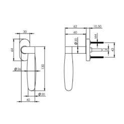 Intersteel Raamkruk Erik Munnikhof Dock Ton rechts INOX gepolijst - Technische tekening