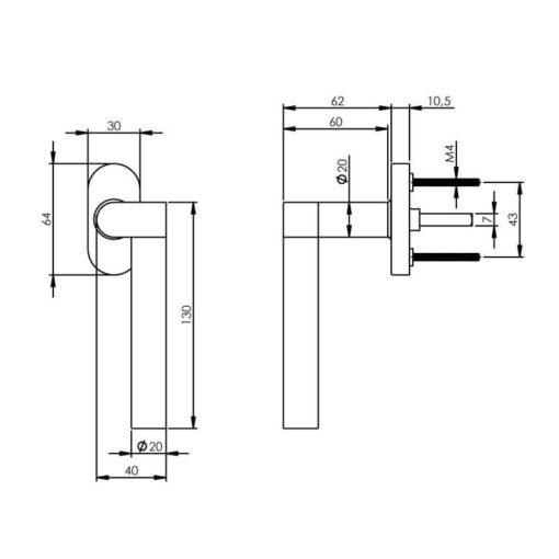 Intersteel Raamkruk Erik Munnikhof Dock Wood rechts INOX gepolijst - Technische tekening