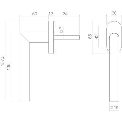 Intersteel Raamkruk L-hoek INOX geborsteld - Technische tekening