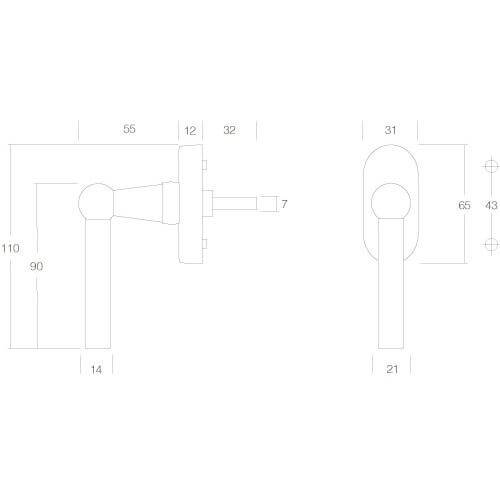 Intersteel Raamkruk L-model chroom - Technische tekening
