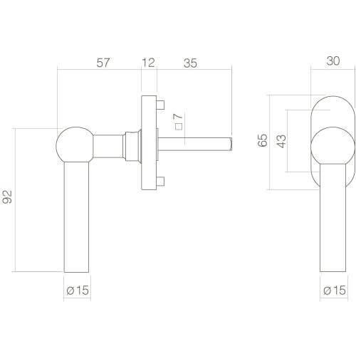 Intersteel Raamkruk L-vorm INOX geborsteld - Technische tekening