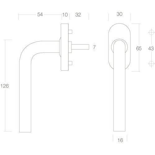 Intersteel Raamkruk Recht diameter 16 mm INOX geborsteld - Technische tekening