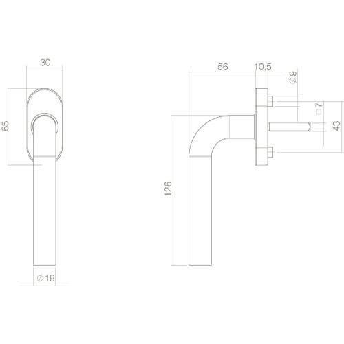Intersteel Raamkruk Recht diameter 19mm INOX geborsteld - Technische tekening