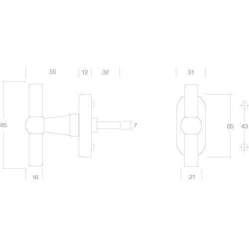 Intersteel Raamkruk T-model chroom - Technische tekening