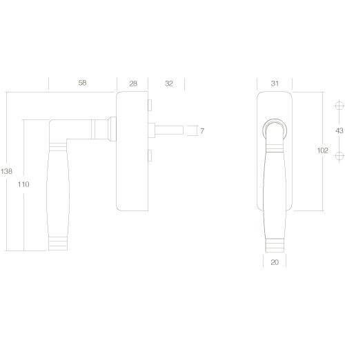 Intersteel Raamkruk Ton 222 afsluitbaar nikkel/ebben hout - Technische tekening