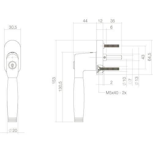 Intersteel Raamkruk Ton 222 afsluitbaar nikkel mat/ebbenhout - Technische tekening