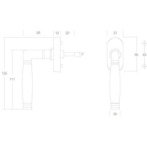 Intersteel Raamkruk Ton 222 nikkel mat/ebbenhout - Technische tekening