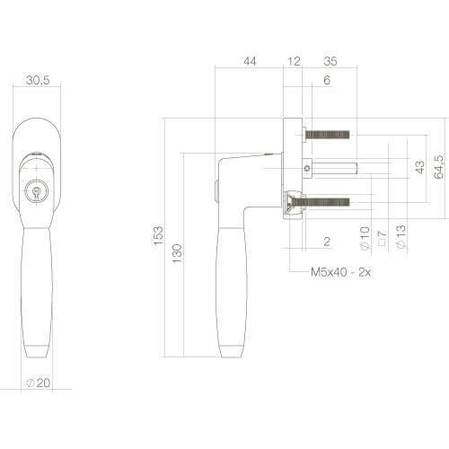 Intersteel Raamkruk Ton 400 afsluitbaar op ovaal rozet chroom/ebben hout - Technische tekening