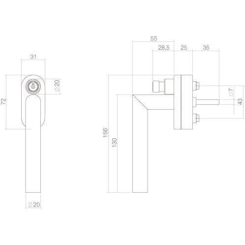 Intersteel Raamkruk hoek afsluitbaar SKG** INOX geborsteld - Technische tekening