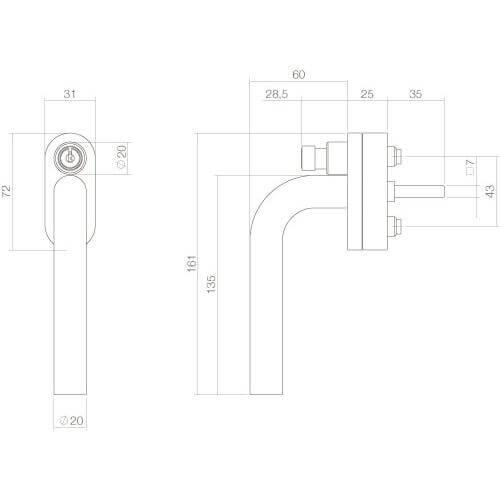 Intersteel Raamkruk recht afsluitbaar SKG** INOX geborsteld - Technische tekening