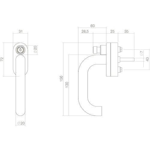 Intersteel Raamkruk rond afsluitbaar SKG** INOX geborsteld - Technische tekening
