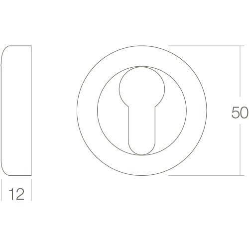Intersteel Rozet Cali met profielcilindergat rond chroom - Technische tekening