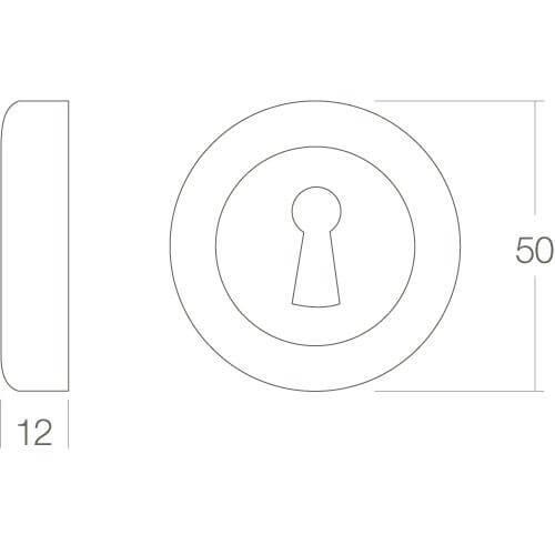 Intersteel Rozet Cali met sleutelgat rond chroom - Technische tekening