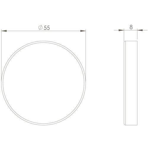 Intersteel Rozet blind INOX geborsteld - Technische tekening