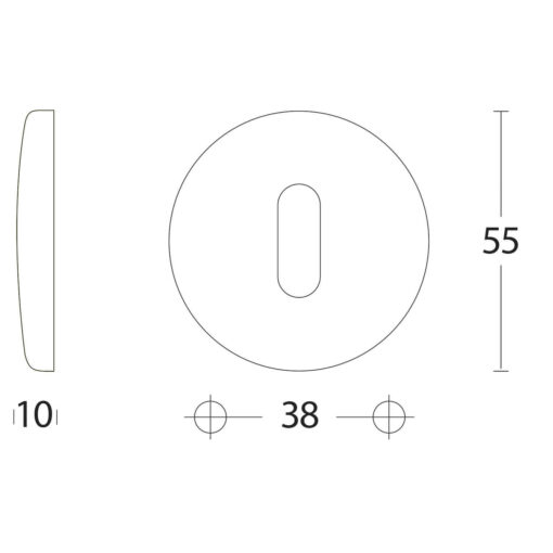 Intersteel Rozet bol rond sleutelgat chroom mat - Technische tekening