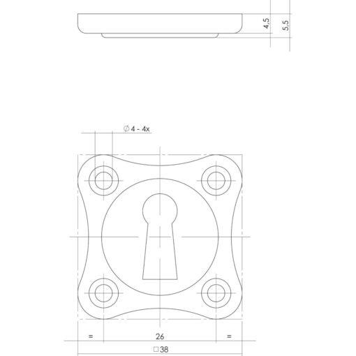 Intersteel Rozet klaverblad sleutelgat nikkel - Technische tekening