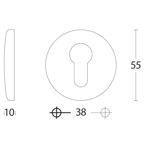 Intersteel Rozet met profielcilindergat bol rond verdekt chroom mat - Technische tekening