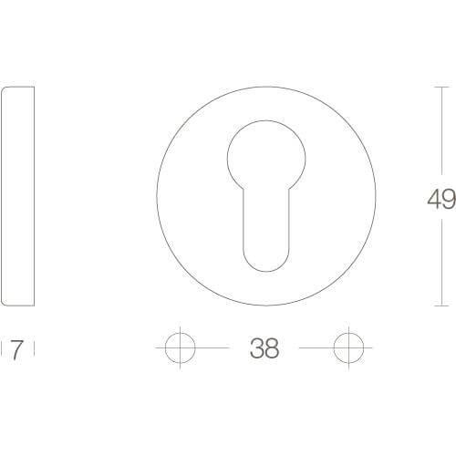 Intersteel Rozet met profielcilindergat rond verdekt nikkel mat - Technische tekening