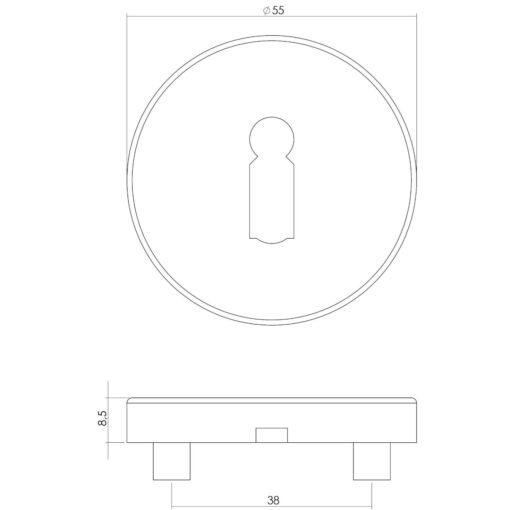 Intersteel Rozet met sleutelgat INOX geborsteld - Technische tekening