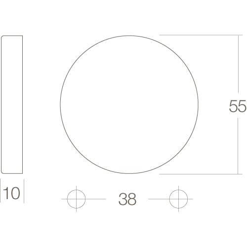 Intersteel Rozet met sleutelgat bol rond verdekt nikkel mat - Technische tekening
