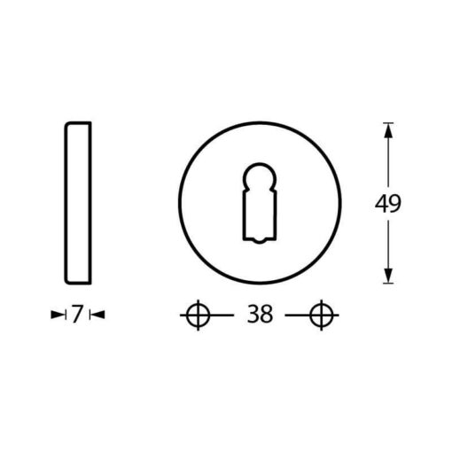 Intersteel Rozet met sleutelgat rond verdekt nikkel mat - Technische tekening