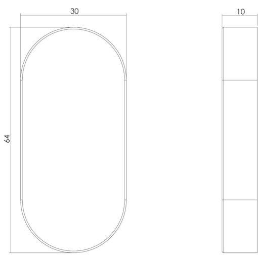 Intersteel Rozet ovaal verdekt INOX geborsteld 10 mm - Technische tekening