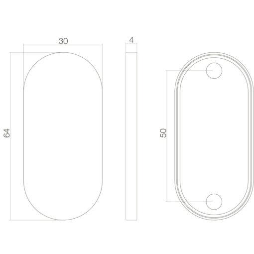 Intersteel Rozet ovaal verdekt INOX geborsteld 4 mm - Technische tekening